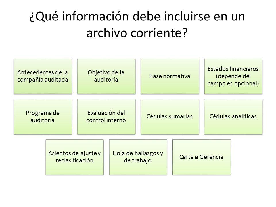 ¿Qué información debe incluirse en un archivo corriente? Antecedentes de la compañía auditada Objetivo de la auditoría Base normativa Estados financie