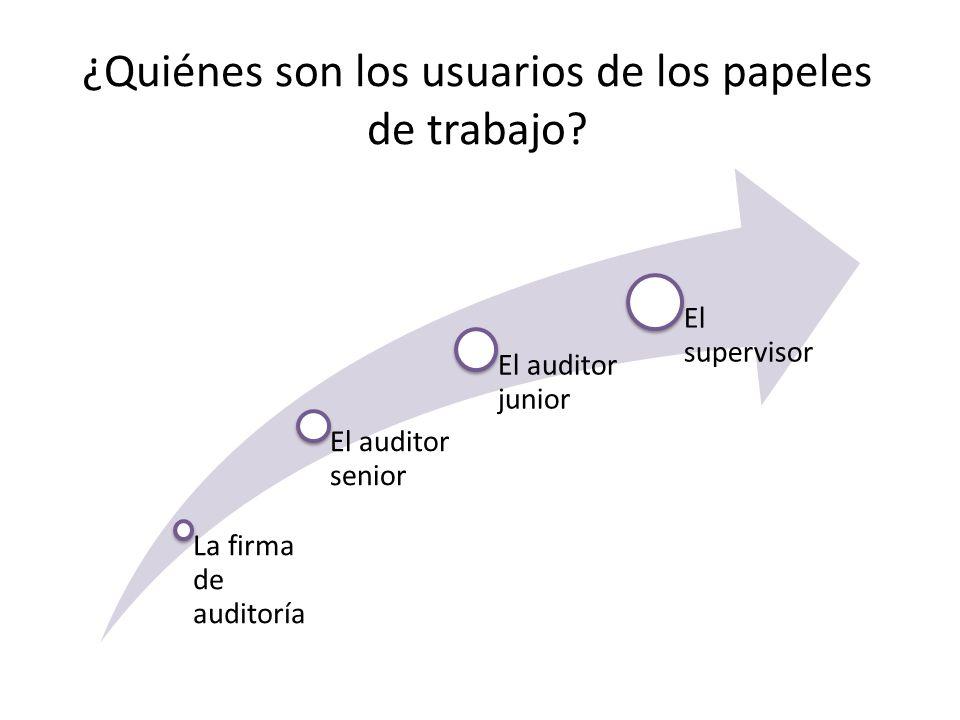 ¿Quiénes son los usuarios de los papeles de trabajo? La firma de auditoría El auditor senior El auditor junior El supervisor