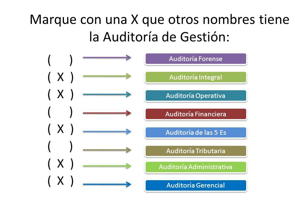 Marque con una X que otros nombres tiene la Auditoría de Gestión: ( ) ( X ) ( ) ( X ) ( ) ( X ) Auditoría Forense Auditoría Integral Auditoría Operati