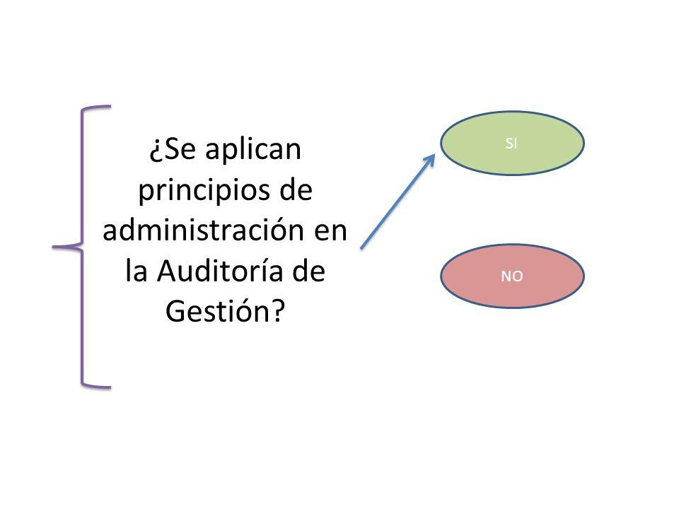 ¿Se aplican principios de administración en la Auditoría de Gestión? SI NO