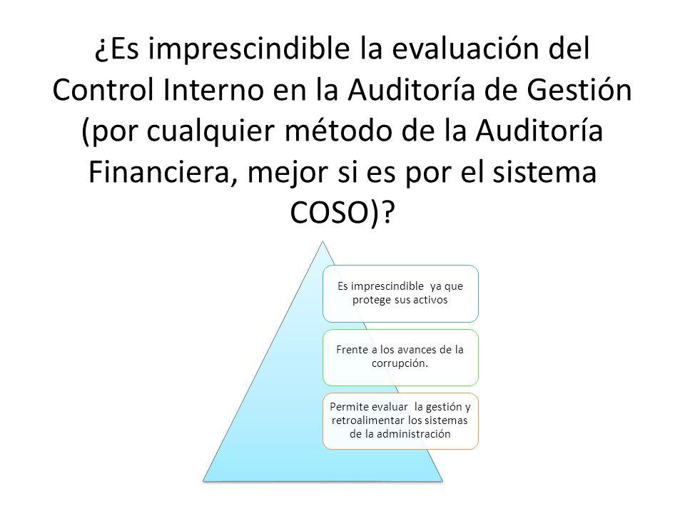 ¿Es imprescindible la evaluación del Control Interno en la Auditoría de Gestión (por cualquier método de la Auditoría Financiera, mejor si es por el s