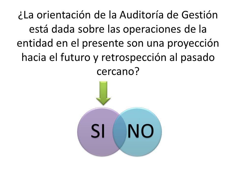 ¿La orientación de la Auditoría de Gestión está dada sobre las operaciones de la entidad en el presente son una proyección hacia el futuro y retrospec