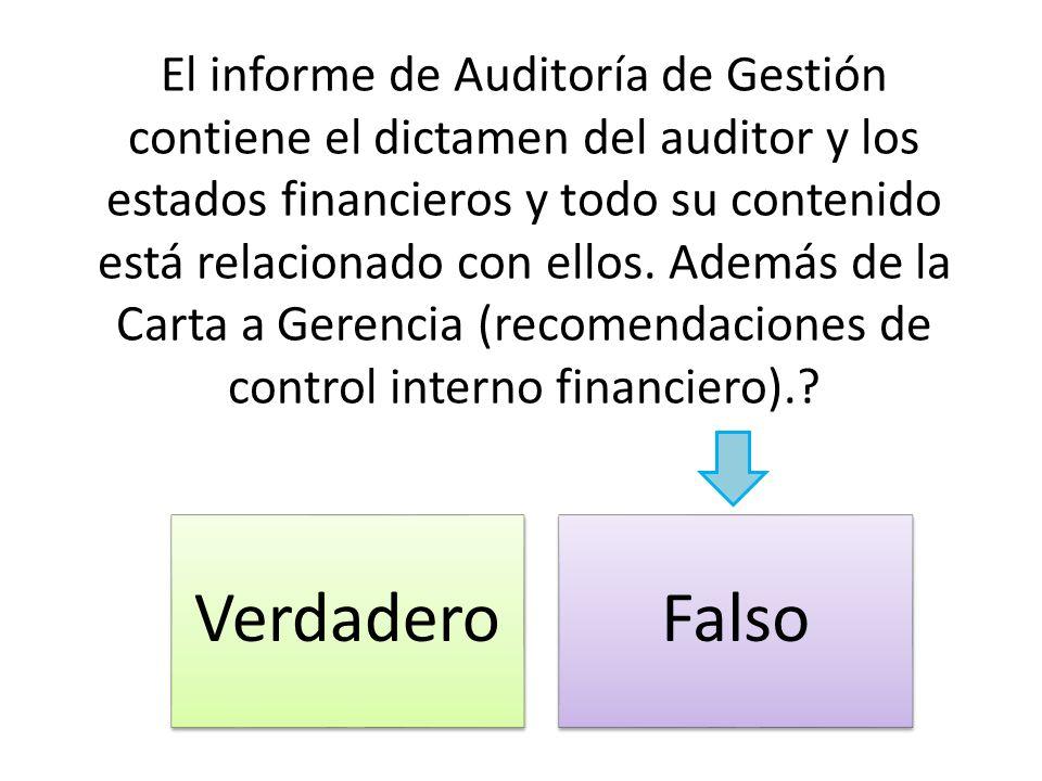 El informe de Auditoría de Gestión contiene el dictamen del auditor y los estados financieros y todo su contenido está relacionado con ellos. Además d