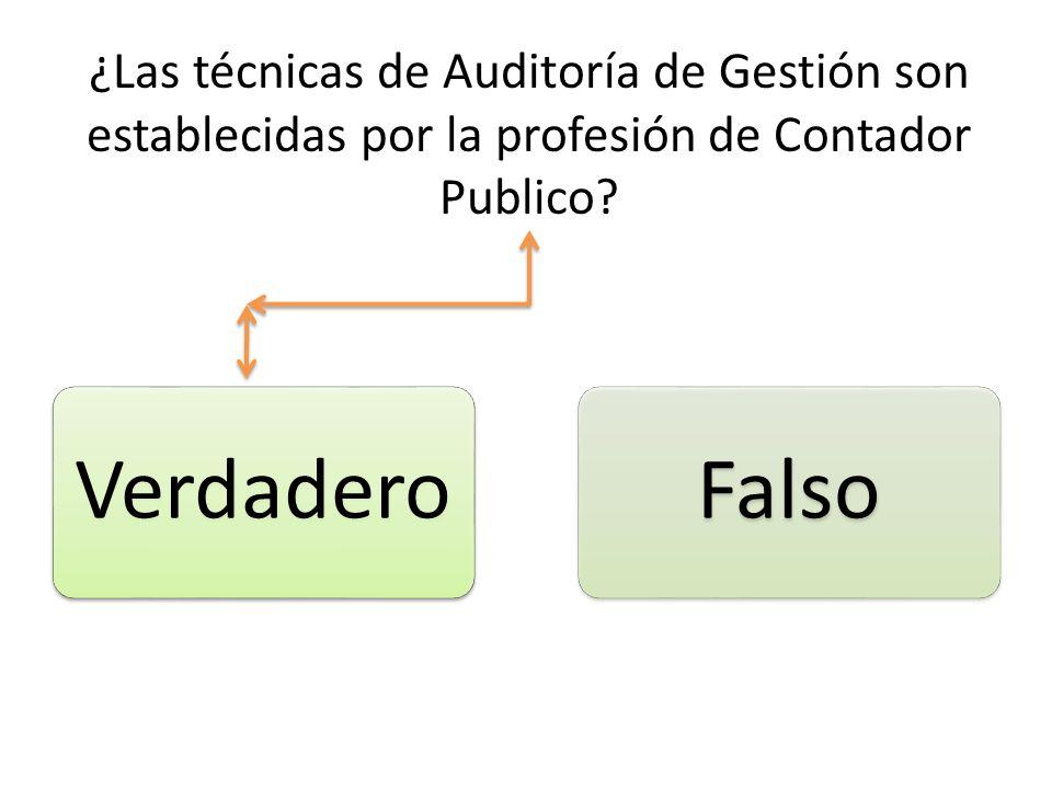 ¿Las técnicas de Auditoría de Gestión son establecidas por la profesión de Contador Publico? VerdaderoFalso