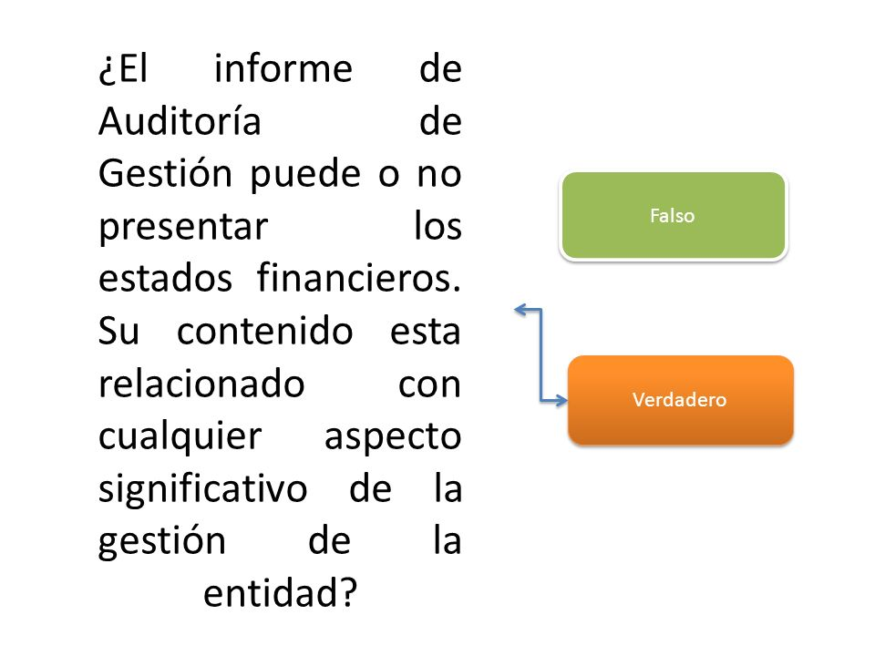 ¿El informe de Auditoría de Gestión puede o no presentar los estados financieros. Su contenido esta relacionado con cualquier aspecto significativo de