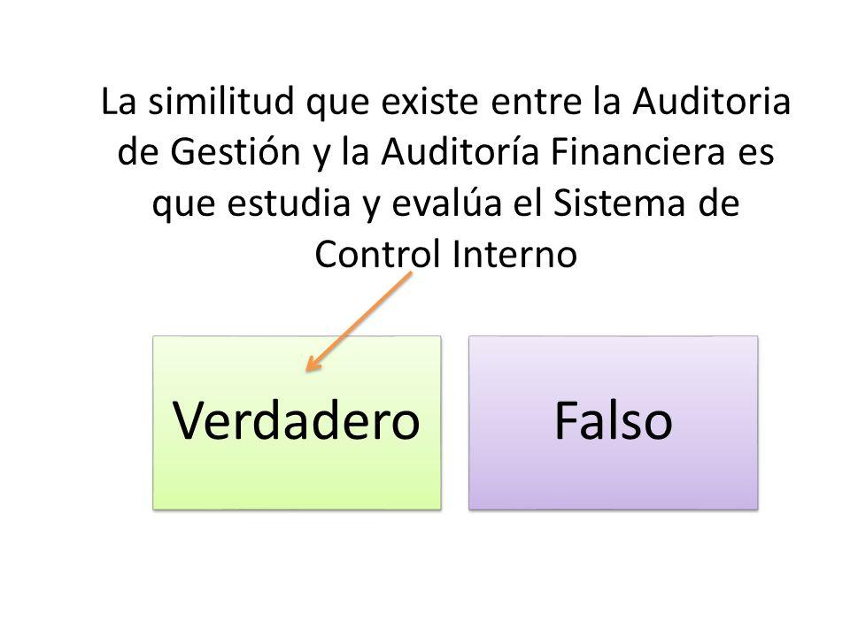 La similitud que existe entre la Auditoria de Gestión y la Auditoría Financiera es que estudia y evalúa el Sistema de Control Interno VerdaderoFalso