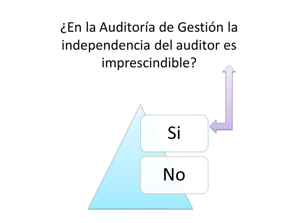 ¿En la Auditoría de Gestión la independencia del auditor es imprescindible? SiNo