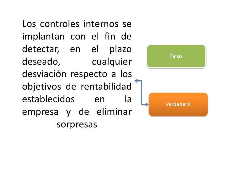 Los controles internos se implantan con el fin de detectar, en el plazo deseado, cualquier desviación respecto a los objetivos de rentabilidad estable