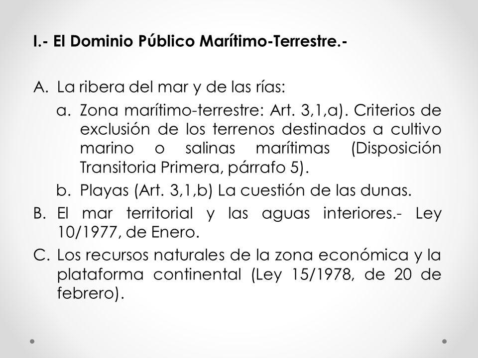 I.- El Dominio Público Marítimo-Terrestre.- A.La ribera del mar y de las rías: a.Zona marítimo-terrestre: Art.