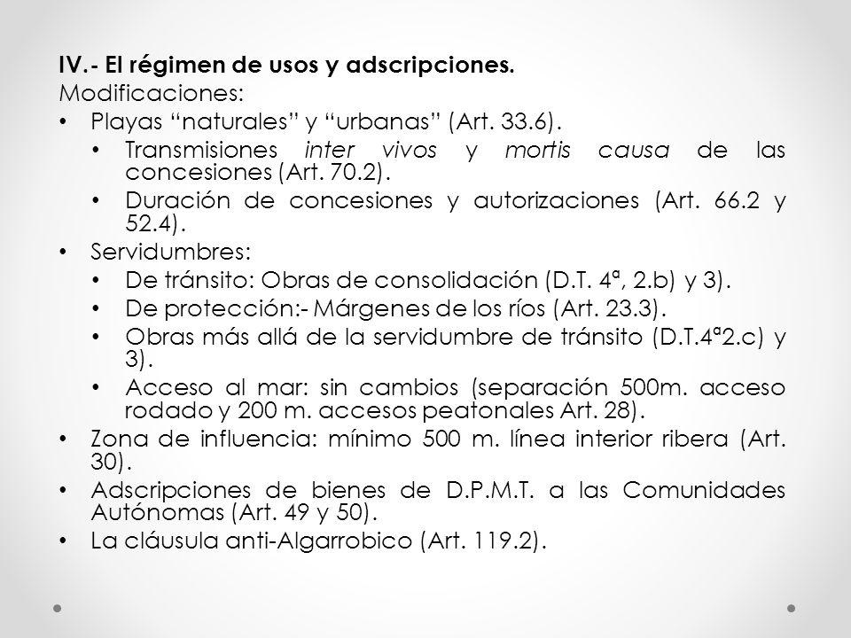 IV.- El régimen de usos y adscripciones. Modificaciones: Playas naturales y urbanas (Art. 33.6). Transmisiones inter vivos y mortis causa de las conce