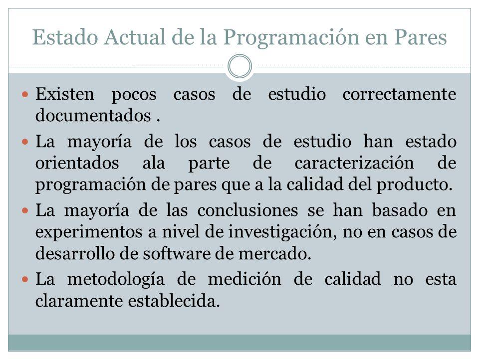 Estado Actual de la Programación en Pares Existen pocos casos de estudio correctamente documentados.
