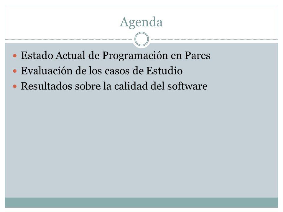 Agenda Estado Actual de Programación en Pares Evaluación de los casos de Estudio Resultados sobre la calidad del software