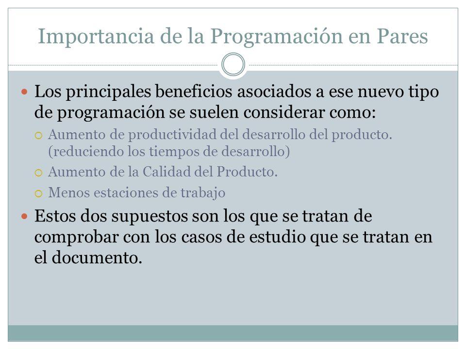 Importancia de la Programación en Pares Los principales beneficios asociados a ese nuevo tipo de programación se suelen considerar como: Aumento de productividad del desarrollo del producto.