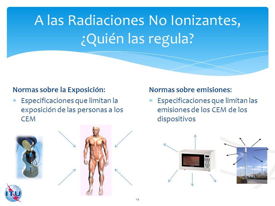 Normas sobre emisiones: Especificaciones que limitan las emisiones de los CEM de los dispositivos A las Radiaciones No Ionizantes, ¿Quién las regula?