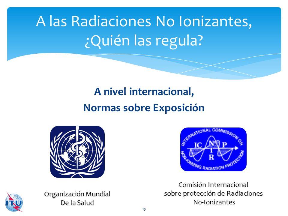A nivel internacional, Normas sobre Exposición A las Radiaciones No Ionizantes, ¿Quién las regula? 15 Comisión Internacional sobre protección de Radia