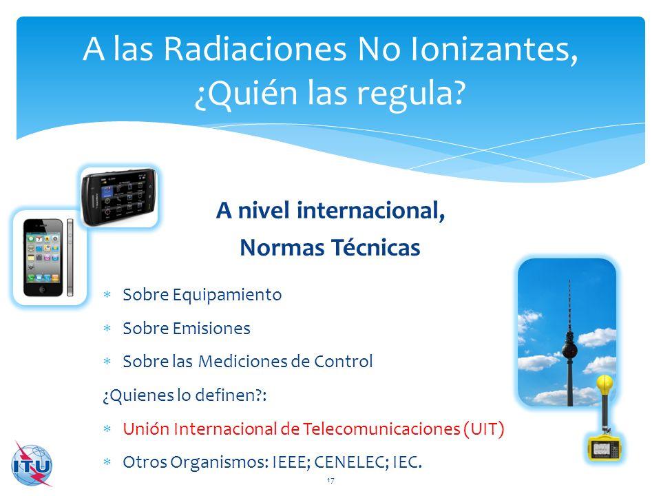 A nivel internacional, Normas Técnicas A las Radiaciones No Ionizantes, ¿Quién las regula? 17 Sobre Equipamiento Sobre Emisiones Sobre las Mediciones