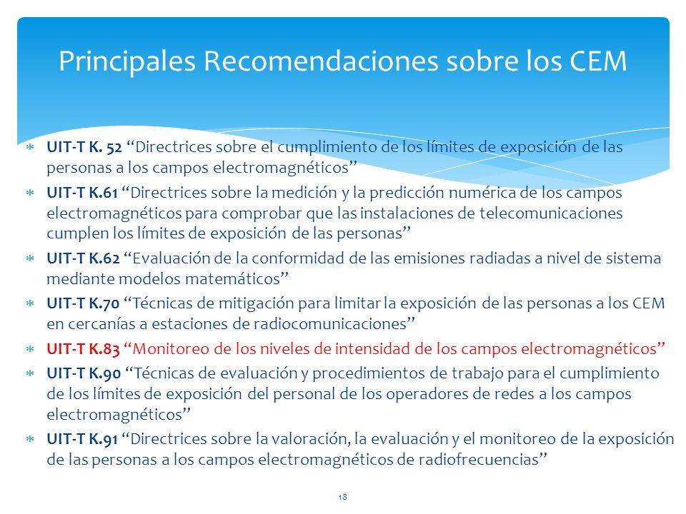 UIT-T K. 52 Directrices sobre el cumplimiento de los límites de exposición de las personas a los campos electromagnéticos UIT-T K.61 Directrices sobre