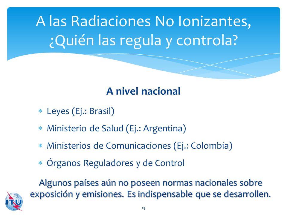 A nivel nacional A las Radiaciones No Ionizantes, ¿Quién las regula y controla? 19 Leyes (Ej.: Brasil) Ministerio de Salud (Ej.: Argentina) Ministerio