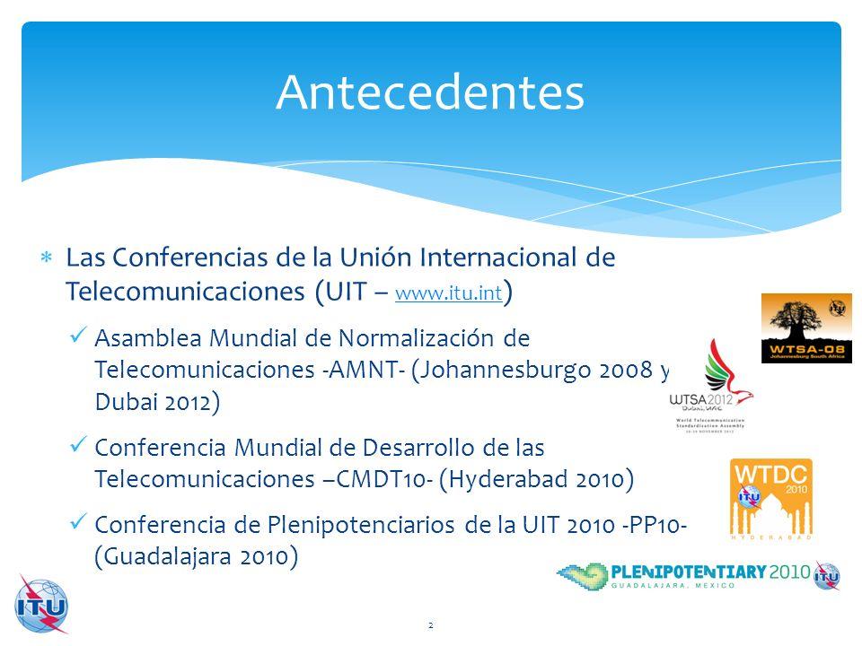 Las Conferencias de la Unión Internacional de Telecomunicaciones (UIT – www.itu.int ) www.itu.int Asamblea Mundial de Normalización de Telecomunicacio