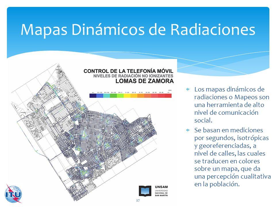 Mapas Dinámicos de Radiaciones 27 Los mapas dinámicos de radiaciones o Mapeos son una herramienta de alto nivel de comunicación social. Se basan en me