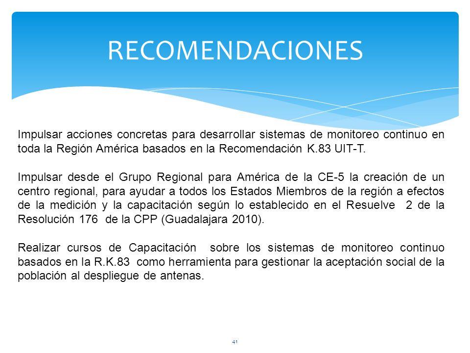 RECOMENDACIONES 41 Impulsar acciones concretas para desarrollar sistemas de monitoreo continuo en toda la Región América basados en la Recomendación K