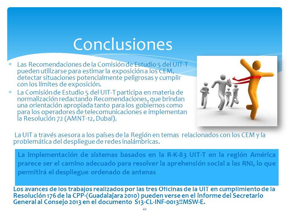 Conclusiones Las Recomendaciones de la Comisión de Estudio 5 del UIT-T pueden utilizarse para estimar la exposición a los CEM, detectar situaciones po