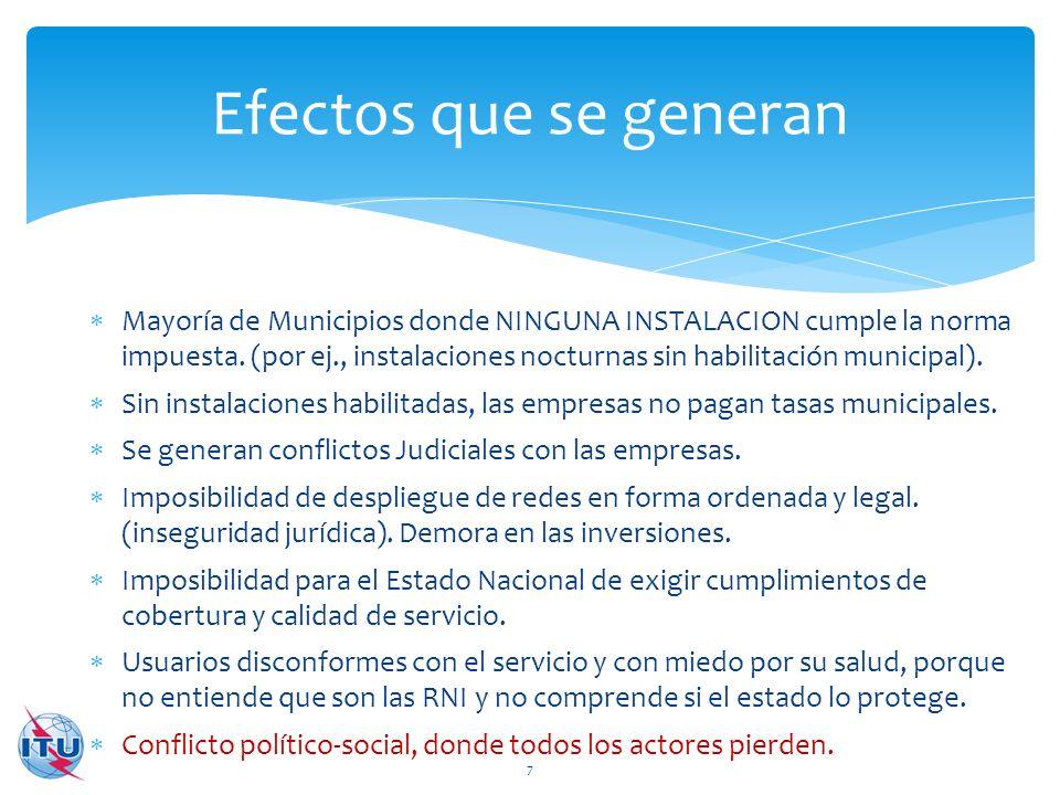 Mayoría de Municipios donde NINGUNA INSTALACION cumple la norma impuesta. (por ej., instalaciones nocturnas sin habilitación municipal). Sin instalaci