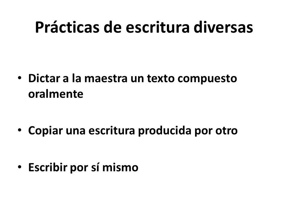 Prácticas de escritura diversas Dictar a la maestra un texto compuesto oralmente Copiar una escritura producida por otro Escribir por sí mismo