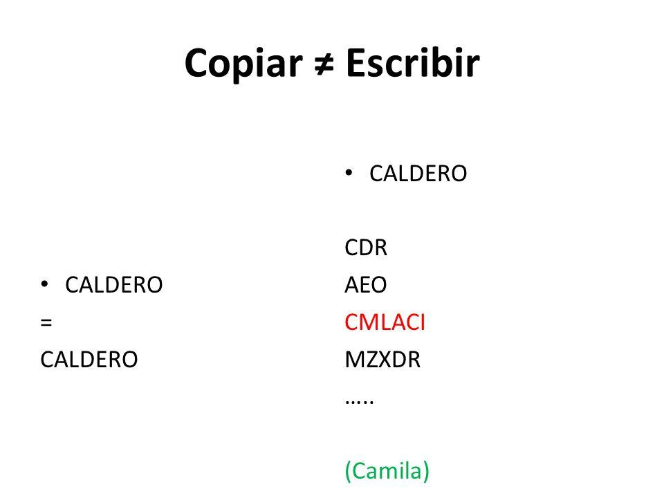 Copiar Escribir CALDERO = CALDERO CDR AEO CMLACI MZXDR ….. (Camila)