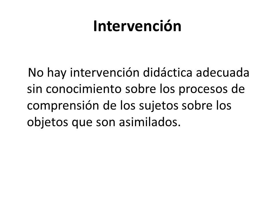 Intervención No hay intervención didáctica adecuada sin conocimiento sobre los procesos de comprensión de los sujetos sobre los objetos que son asimil