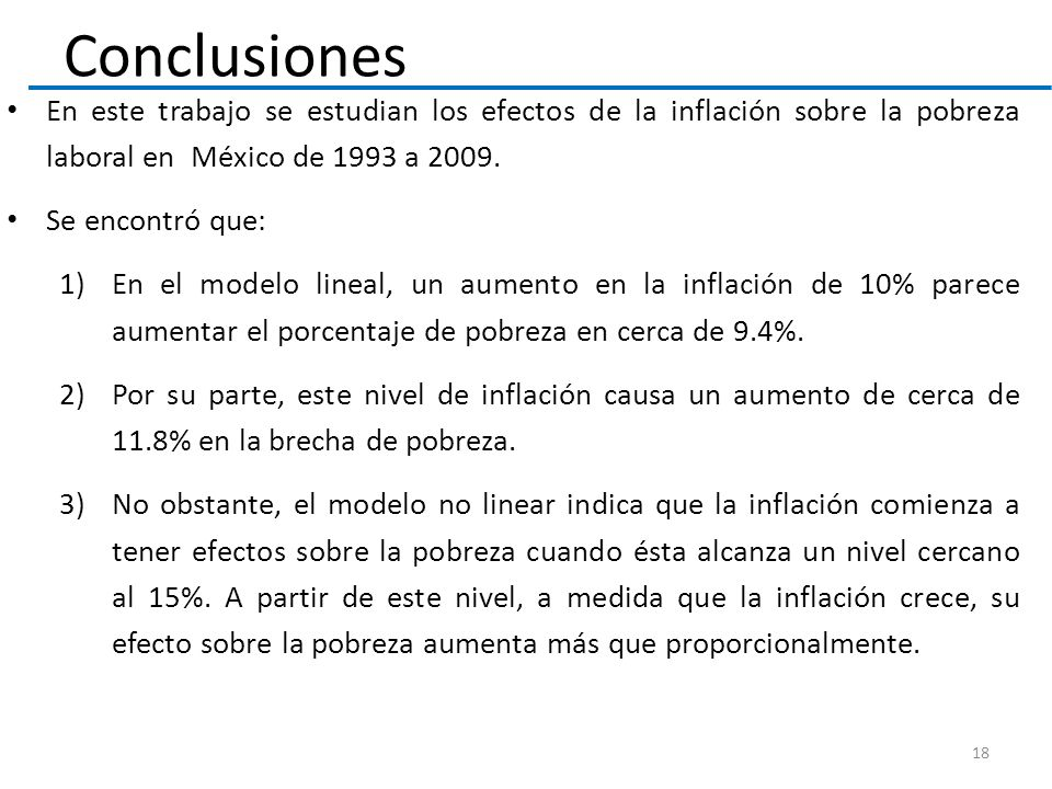 Conclusiones En este trabajo se estudian los efectos de la inflación sobre la pobreza laboral en México de 1993 a 2009. Se encontró que: 1)En el model