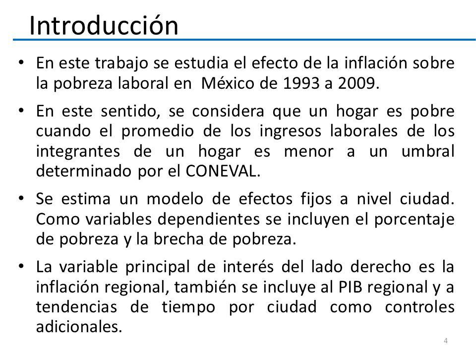 En este trabajo se estudia el efecto de la inflación sobre la pobreza laboral en México de 1993 a 2009. En este sentido, se considera que un hogar es