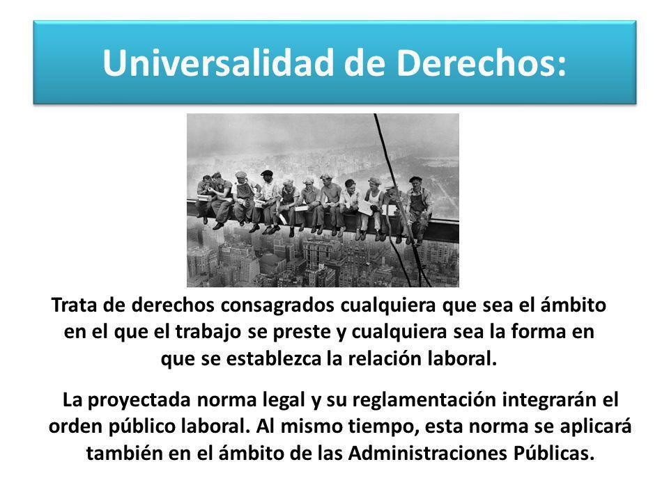 Universalidad de Derechos: La proyectada norma legal y su reglamentación integrarán el orden público laboral. Al mismo tiempo, esta norma se aplicará