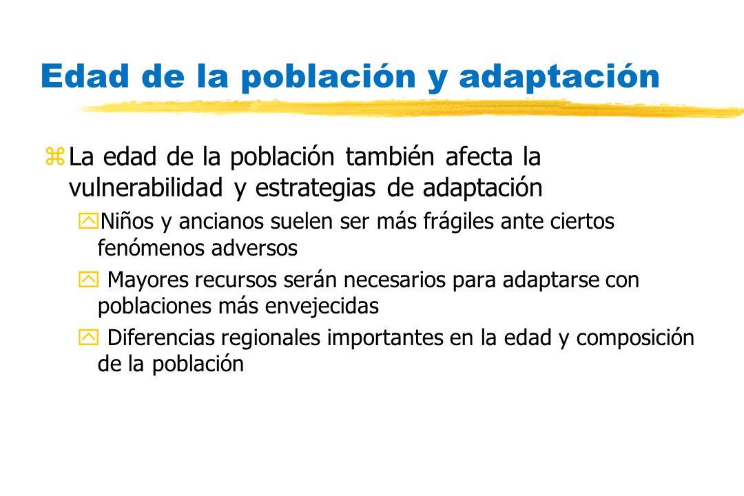 Edad de la población y adaptación zLa edad de la población también afecta la vulnerabilidad y estrategias de adaptación yNiños y ancianos suelen ser m