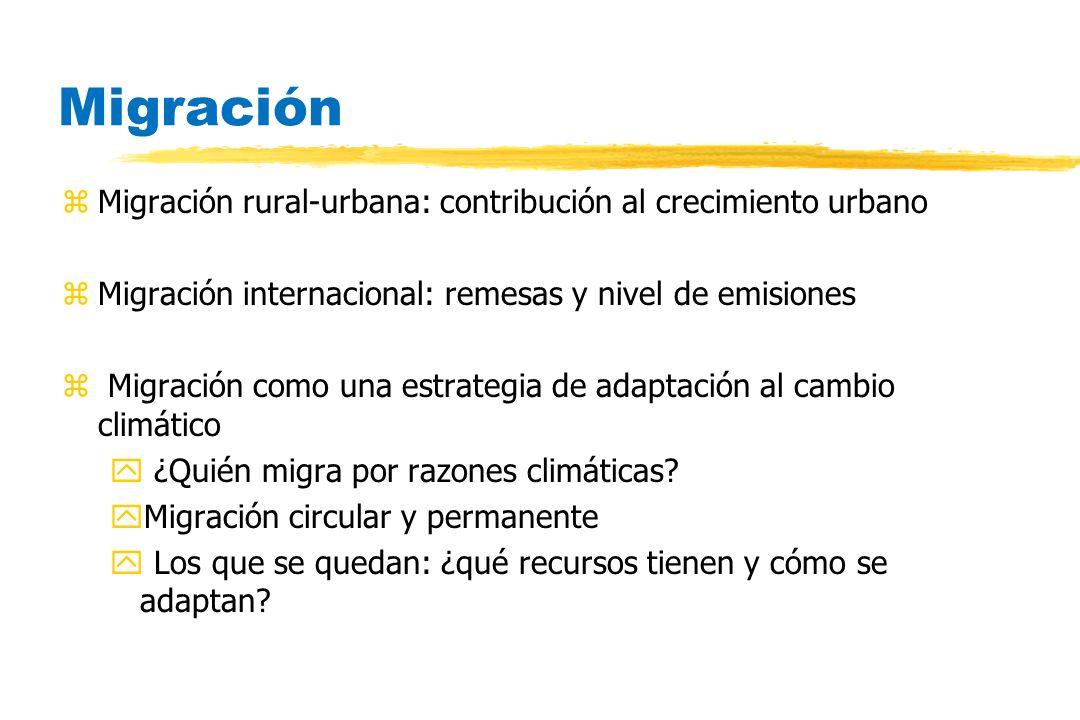 Migración zMigración rural-urbana: contribución al crecimiento urbano zMigración internacional: remesas y nivel de emisiones z Migración como una estr