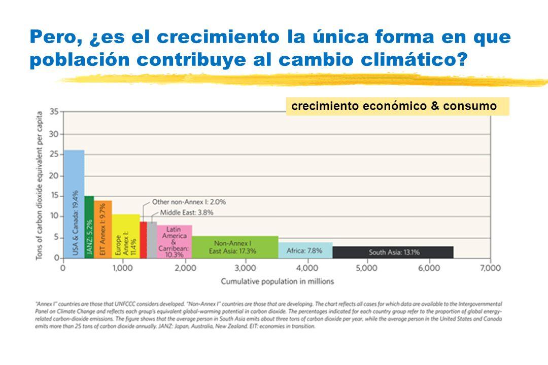 Pero, ¿es el crecimiento la única forma en que población contribuye al cambio climático? crecimiento económico & consumo