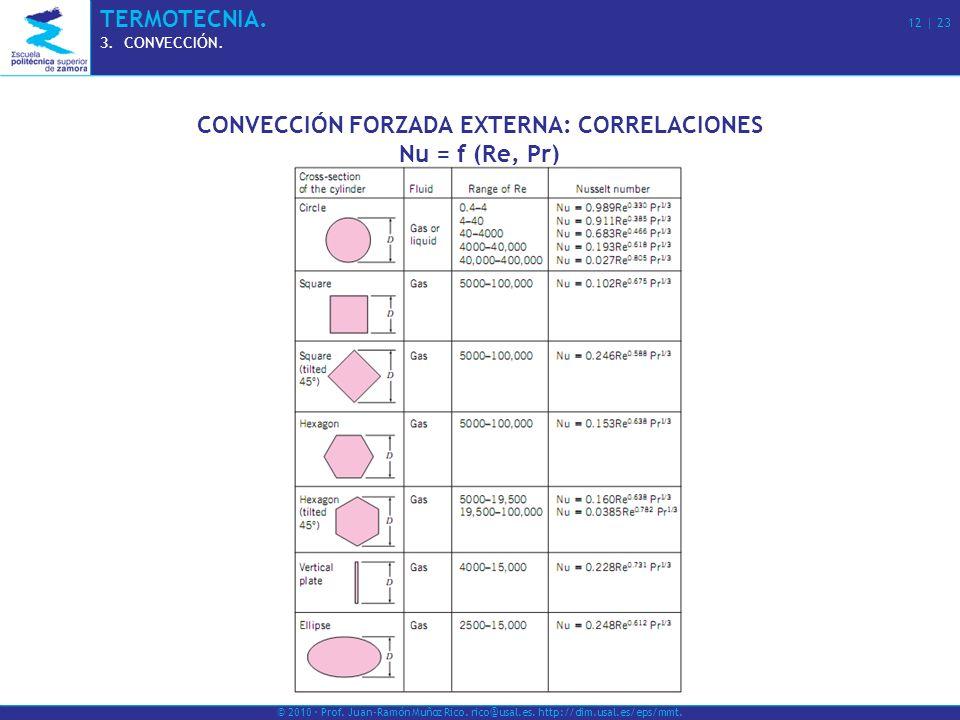 © 2010 · Prof. Juan-Ramón Muñoz Rico. rico@usal.es. http://dim.usal.es/eps/mmt. TERMOTECNIA. 12 | 23 3.CONVECCIÓN. CONVECCIÓN FORZADA EXTERNA: CORRELA