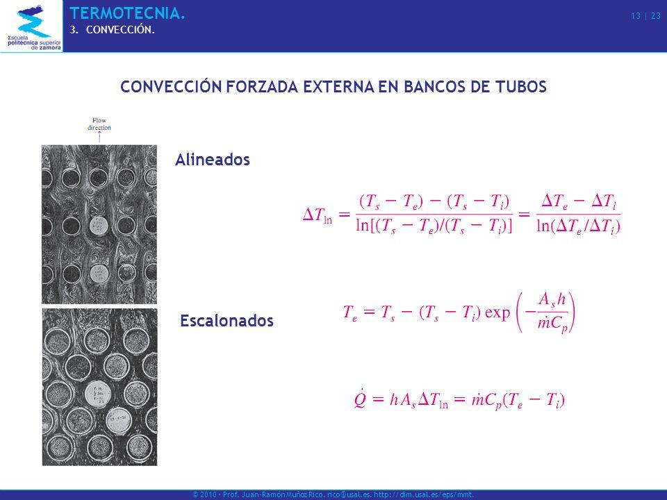 © 2010 · Prof. Juan-Ramón Muñoz Rico. rico@usal.es. http://dim.usal.es/eps/mmt. TERMOTECNIA. 13 | 23 3.CONVECCIÓN. CONVECCIÓN FORZADA EXTERNA EN BANCO