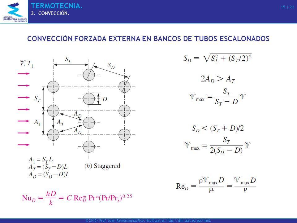 © 2010 · Prof. Juan-Ramón Muñoz Rico. rico@usal.es. http://dim.usal.es/eps/mmt. TERMOTECNIA. 15   23 3.CONVECCIÓN. CONVECCIÓN FORZADA EXTERNA EN BANCO