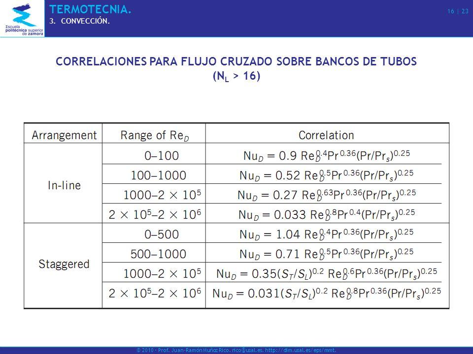 © 2010 · Prof. Juan-Ramón Muñoz Rico. rico@usal.es. http://dim.usal.es/eps/mmt. TERMOTECNIA. 16 | 23 3.CONVECCIÓN. CORRELACIONES PARA FLUJO CRUZADO SO