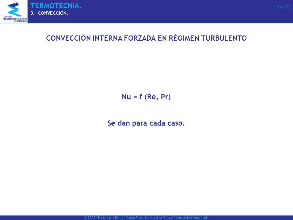 © 2010 · Prof. Juan-Ramón Muñoz Rico. rico@usal.es. http://dim.usal.es/eps/mmt. TERMOTECNIA. 21 | 23 3.CONVECCIÓN. CONVECCIÓN INTERNA FORZADA EN RÉGIM