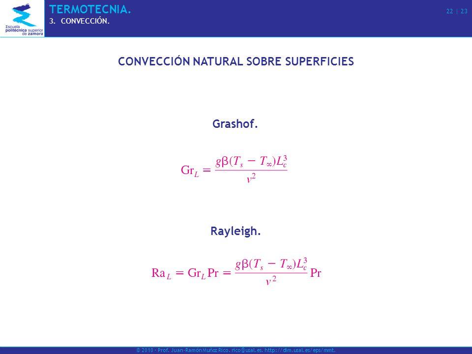 © 2010 · Prof. Juan-Ramón Muñoz Rico. rico@usal.es. http://dim.usal.es/eps/mmt. TERMOTECNIA. 22 | 23 3.CONVECCIÓN. CONVECCIÓN NATURAL SOBRE SUPERFICIE