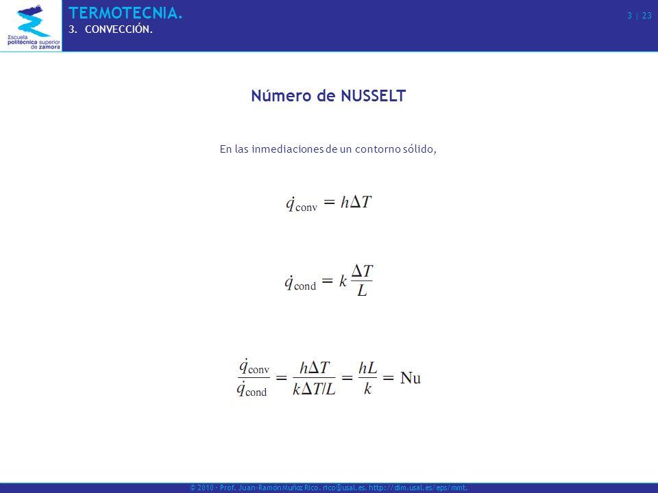 © 2010 · Prof. Juan-Ramón Muñoz Rico. rico@usal.es. http://dim.usal.es/eps/mmt. TERMOTECNIA. 3 | 23 3.CONVECCIÓN. Número de NUSSELT En las inmediacion