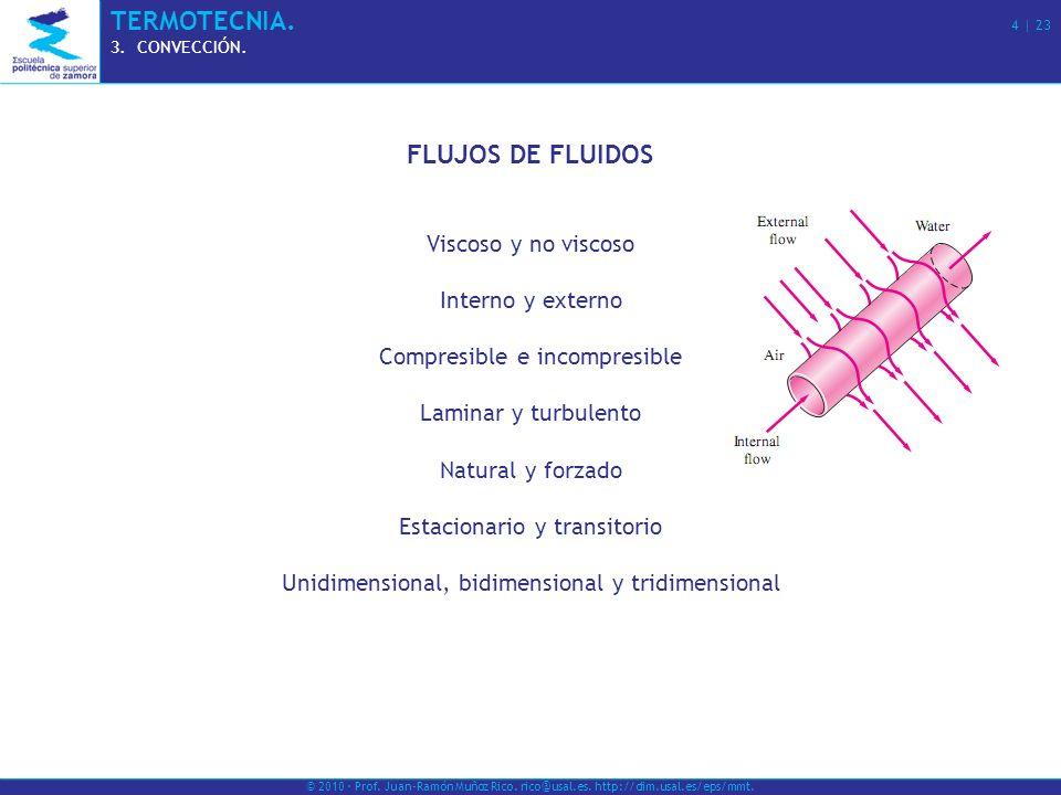 © 2010 · Prof. Juan-Ramón Muñoz Rico. rico@usal.es. http://dim.usal.es/eps/mmt. TERMOTECNIA. 4   23 3.CONVECCIÓN. FLUJOS DE FLUIDOS Viscoso y no visco