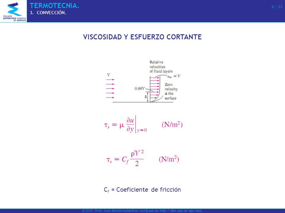 © 2010 · Prof. Juan-Ramón Muñoz Rico. rico@usal.es. http://dim.usal.es/eps/mmt. TERMOTECNIA. 6   23 3.CONVECCIÓN. VISCOSIDAD Y ESFUERZO CORTANTE C f =
