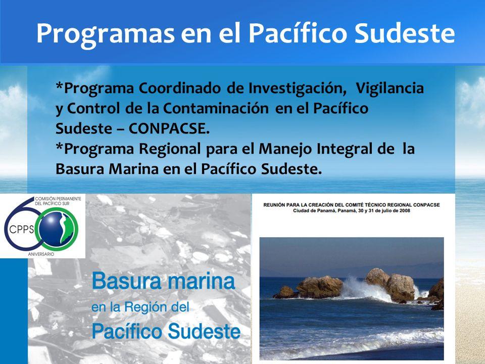 Programas en el Pacífico Sudeste *Programa Coordinado de Investigación, Vigilancia y Control de la Contaminación en el Pacífico Sudeste – CONPACSE. *P