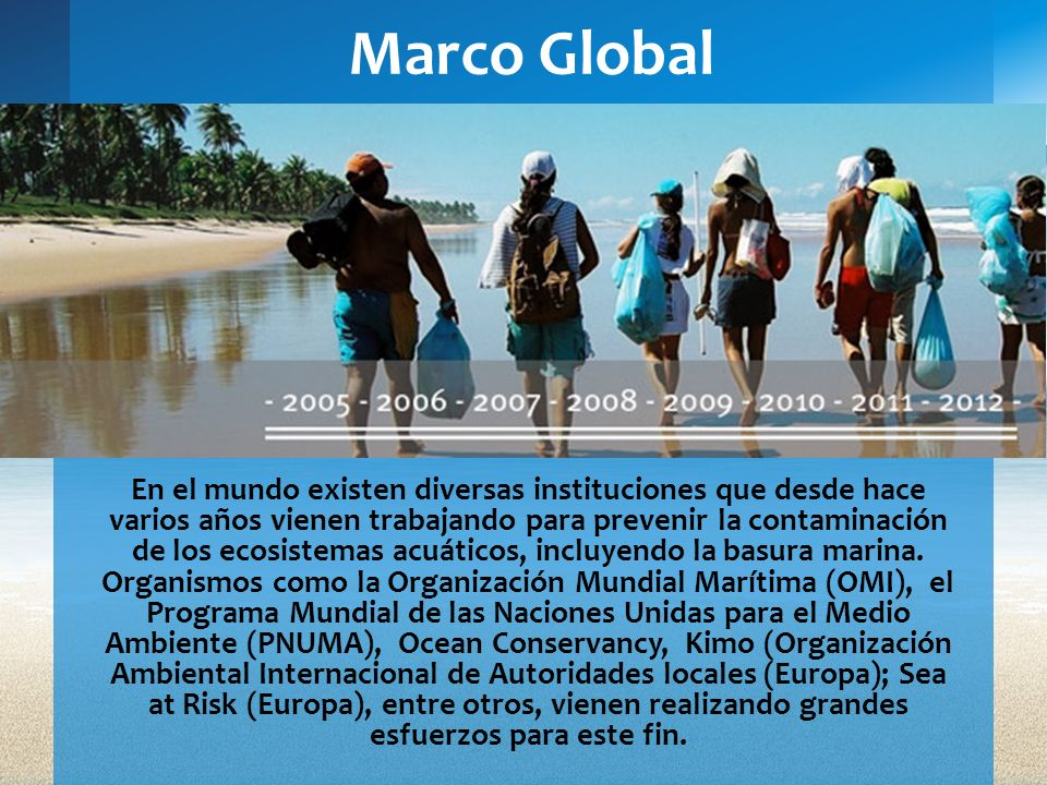 Marco Global En el mundo existen diversas instituciones que desde hace varios años vienen trabajando para prevenir la contaminación de los ecosistemas
