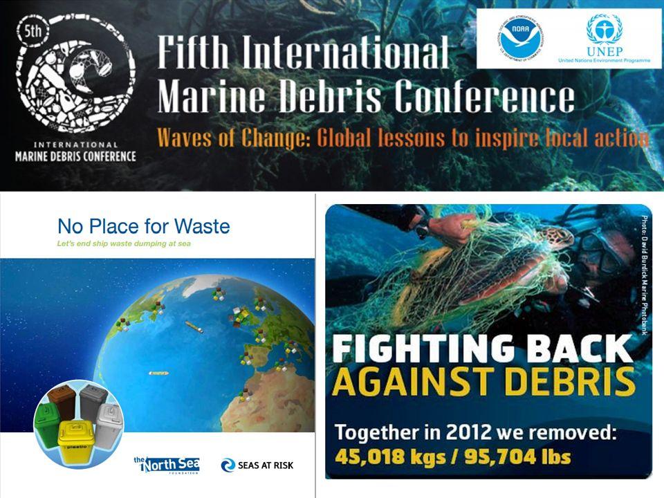 Programa Nacional para el Monitoreo de la Basura Marina La EPA en unión a otras agencias federales ayudaron en el diseño del Programa Nacional para el Monitoreo de la Basura Marina (NMDMP por sus siglas en inglés) en los Estados Unidos, además apoya la implementación del estudio que es llevado a cabo por el Ocean Conservancy.