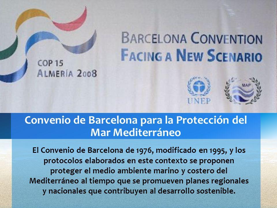 El Convenio de Barcelona de 1976, modificado en 1995, y los protocolos elaborados en este contexto se proponen proteger el medio ambiente marino y cos