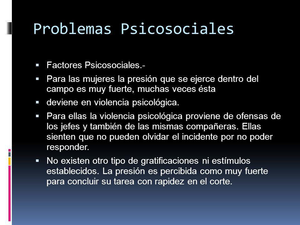 Problemas Psicosociales Factores Psicosociales.- Para las mujeres la presión que se ejerce dentro del campo es muy fuerte, muchas veces ésta deviene en violencia psicológica.